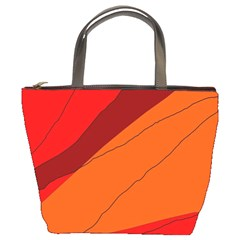 Red And Orange Decorative Abstraction Bucket Bags by Valentinaart