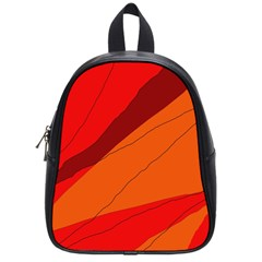 Red And Orange Decorative Abstraction School Bags (small)  by Valentinaart