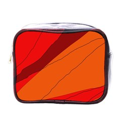 Red And Orange Decorative Abstraction Mini Toiletries Bags by Valentinaart