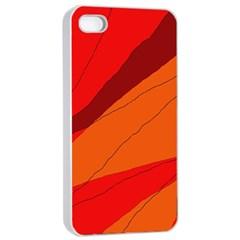 Red And Orange Decorative Abstraction Apple Iphone 4/4s Seamless Case (white) by Valentinaart