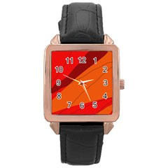 Red And Orange Decorative Abstraction Rose Gold Leather Watch  by Valentinaart