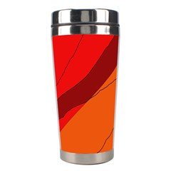 Red And Orange Decorative Abstraction Stainless Steel Travel Tumblers by Valentinaart