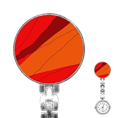Red And Orange Decorative Abstraction Stainless Steel Nurses Watch by Valentinaart