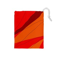 Red And Orange Decorative Abstraction Drawstring Pouches (medium)  by Valentinaart
