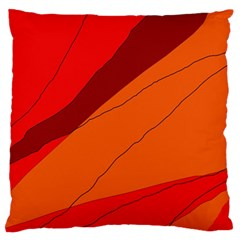 Red And Orange Decorative Abstraction Large Flano Cushion Case (two Sides) by Valentinaart