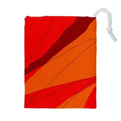 Red And Orange Decorative Abstraction Drawstring Pouches (extra Large) by Valentinaart