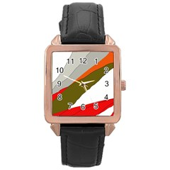 Decorative Abstraction Rose Gold Leather Watch  by Valentinaart