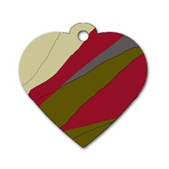 Decoratve Abstraction Dog Tag Heart (two Sides) by Valentinaart
