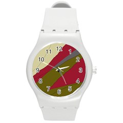 Decoratve Abstraction Round Plastic Sport Watch (m) by Valentinaart