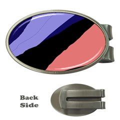 Purple And Pink Abstraction Money Clips (oval)