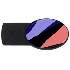 Purple And Pink Abstraction Usb Flash Drive Oval (2 Gb)