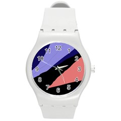 Purple And Pink Abstraction Round Plastic Sport Watch (m) by Valentinaart