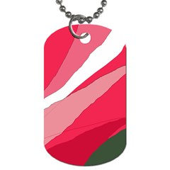 Pink Abstraction Dog Tag (two Sides) by Valentinaart