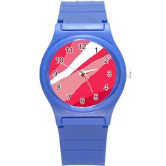 Pink Abstraction Round Plastic Sport Watch (s) by Valentinaart