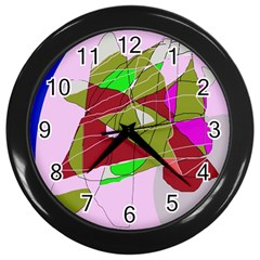 Flora Abstraction Wall Clocks (black) by Valentinaart