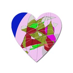 Flora Abstraction Heart Magnet by Valentinaart