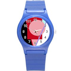 Decorative Geomeric Abstraction Round Plastic Sport Watch (s) by Valentinaart