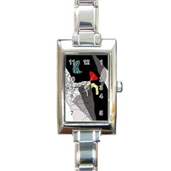 Decorative Abstraction Rectangle Italian Charm Watch by Valentinaart