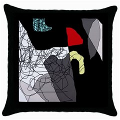 Decorative Abstraction Throw Pillow Case (black) by Valentinaart