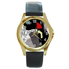 Decorative Abstraction Round Gold Metal Watch by Valentinaart
