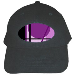 Purple Geometrical Abstraction Black Cap by Valentinaart