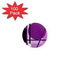 Purple Geometrical Abstraction 1  Mini Magnets (100 Pack)  by Valentinaart