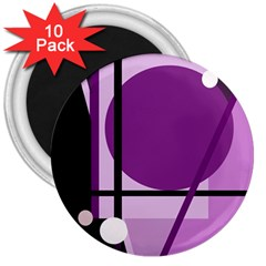 Purple Geometrical Abstraction 3  Magnets (10 Pack)  by Valentinaart