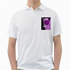 Purple Geometrical Abstraction Golf Shirts by Valentinaart