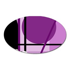 Purple Geometrical Abstraction Oval Magnet by Valentinaart