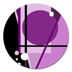 Purple Geometrical Abstraction Magnet 5  (round) by Valentinaart