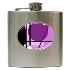 Purple Geometrical Abstraction Hip Flask (6 Oz) by Valentinaart
