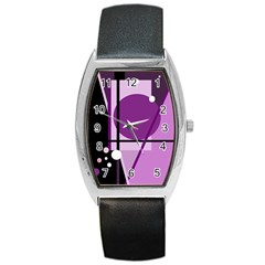 Purple Geometrical Abstraction Barrel Style Metal Watch by Valentinaart