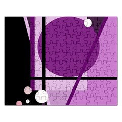 Purple Geometrical Abstraction Rectangular Jigsaw Puzzl by Valentinaart
