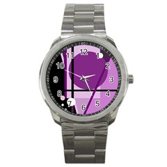 Purple Geometrical Abstraction Sport Metal Watch by Valentinaart