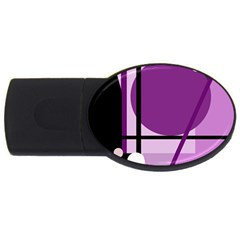 Purple Geometrical Abstraction Usb Flash Drive Oval (4 Gb)  by Valentinaart
