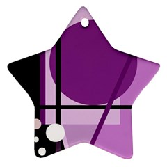 Purple Geometrical Abstraction Star Ornament (two Sides)  by Valentinaart