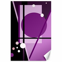 Purple Geometrical Abstraction Canvas 20  X 30   by Valentinaart