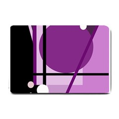 Purple Geometrical Abstraction Small Doormat  by Valentinaart