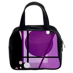 Purple Geometrical Abstraction Classic Handbags (2 Sides) by Valentinaart