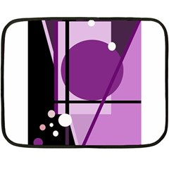 Purple Geometrical Abstraction Fleece Blanket (mini) by Valentinaart