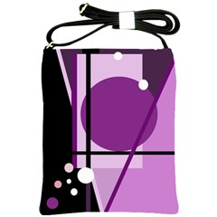 Purple Geometrical Abstraction Shoulder Sling Bags by Valentinaart