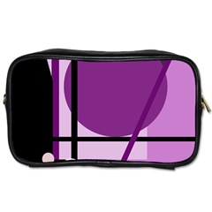 Purple Geometrical Abstraction Toiletries Bags by Valentinaart