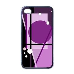 Purple Geometrical Abstraction Apple Iphone 4 Case (black) by Valentinaart