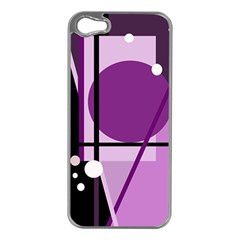 Purple Geometrical Abstraction Apple Iphone 5 Case (silver) by Valentinaart