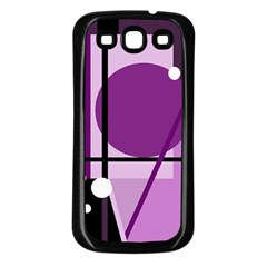Purple Geometrical Abstraction Samsung Galaxy S3 Back Case (black) by Valentinaart