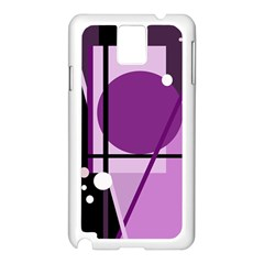 Purple Geometrical Abstraction Samsung Galaxy Note 3 N9005 Case (white) by Valentinaart