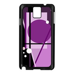 Purple Geometrical Abstraction Samsung Galaxy Note 3 N9005 Case (black) by Valentinaart