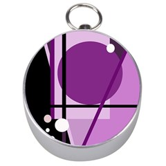 Purple Geometrical Abstraction Silver Compasses by Valentinaart