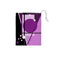 Purple Geometrical Abstraction Drawstring Pouches (small)  by Valentinaart