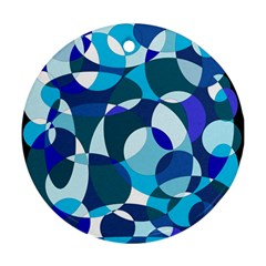 Blue Abstraction Ornament (round)  by Valentinaart
